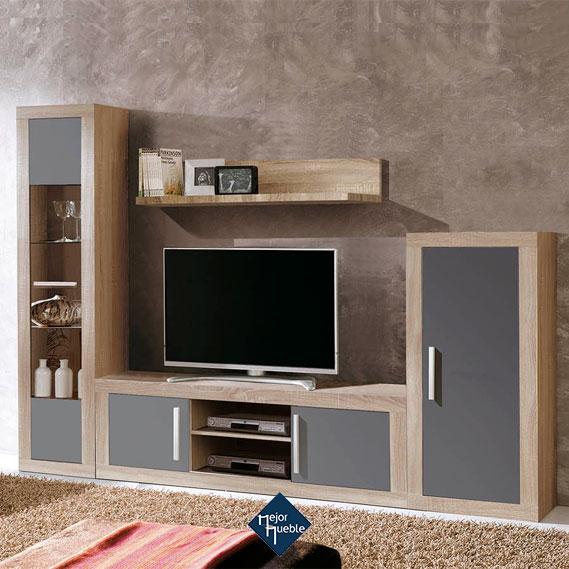 salon completo con vitrina de una puerta mesa tv, estante y modulo bajo de una puerta mejormueble